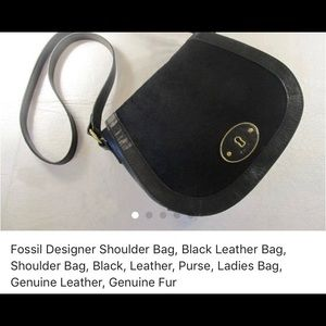 Black leather Fossil with fur! Perfect condition!